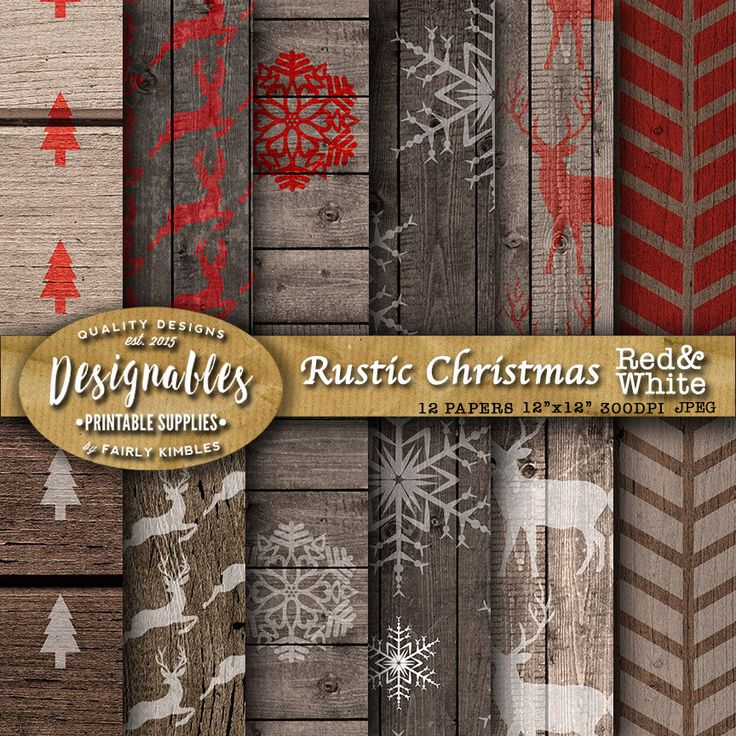 Rustic Christmas Digital Papers. Red, White and Wood Digital Papers. Christmas Digital Papers. 12 Images 300 Dpi Jpg files Instant Download. by DesignableSupplies on Etsy