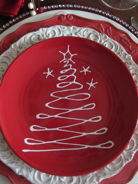 Love this design to try and use a white sharpie and see if I can make the plate.  The tree design is very simple and can be used in a variety of projects.