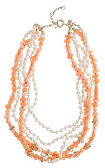 ...♥ J.CREW  Pearl and Coral Necklace