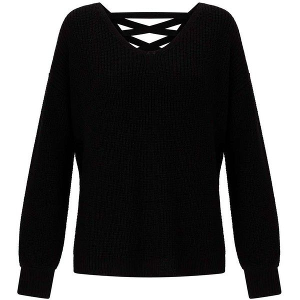 Miss Selfridge Black Lattice Back Knitted Jumper ($61) ❤ liked on Polyvore featuring tops, sweaters, black, jumpers sweaters, jumper top, acrylic sweater, miss selfridge tops and miss selfridge