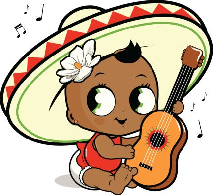 Mariachi jouer de la guitare bébé fille - Illustration vectorielle