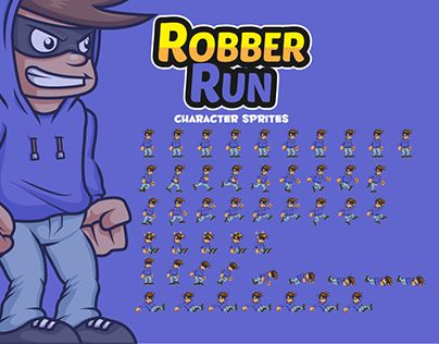 """Check out new work on my @Behance portfolio: """"Robber Character Sprites"""" http://be.net/gallery/44607987/Robber-Character-Sprites"""