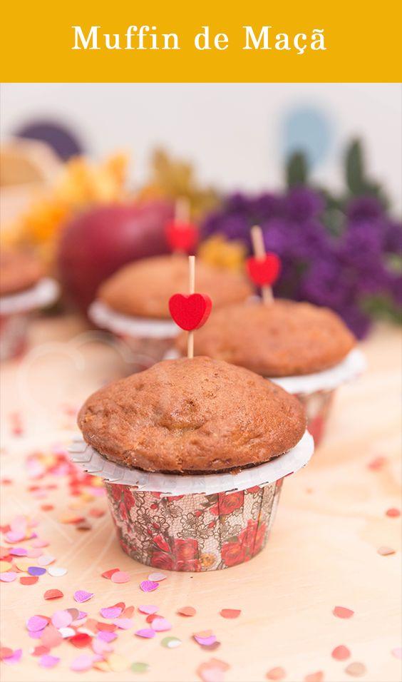 Muffin de Maçã, perfeito para levar de lanche para escola e trabalho.
