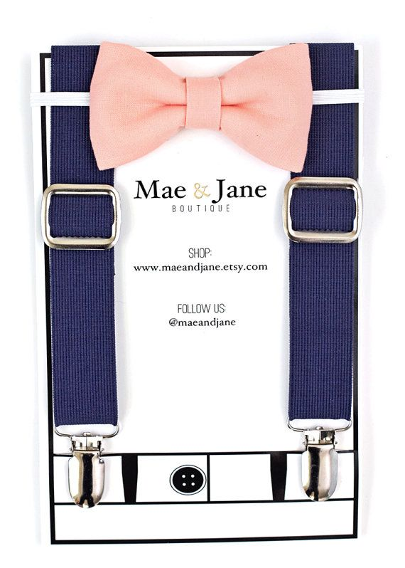 Boys Bow Tie and Suspenders SET Peach boys bow tie by MaeAndJane
