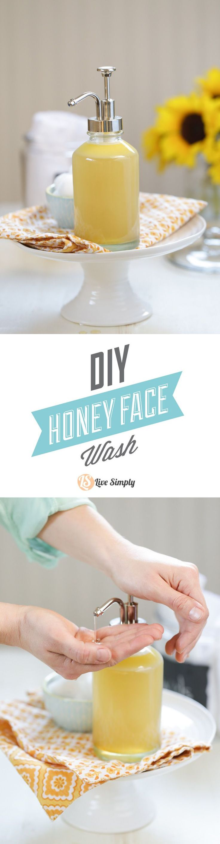 A DIY homemade honey face wash that's natural and effective for cleansing the skin. This easy face wash only requires four ingredients (and two seconds of time)--castile soap, honey, water, and a nourishing oil! http://livesimply.me/2015/01/31/diy-homemade-honey-face-wash/