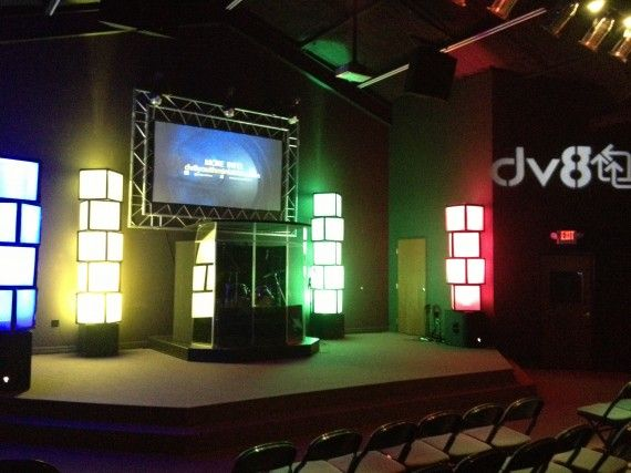 church lighting ideas. they accomplished this design with air filters duct tape and some led lighting stage lightinglighting ideascheap lightingchurch church ideas e