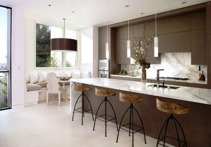 Kitchen:Minimalist Kitchen Remodeling Ideas With Cute Kitchen Decorations Fear Kitchen Islands Sink Faucets Also Pendant Lamps And Wooden Bar Stools Plus Kitchen Cabinets And With Marble Flooring Kitchen Design Minimalist Kitchen Remodeling Ideas with Big Brown Wooden Cabinets and Shelves