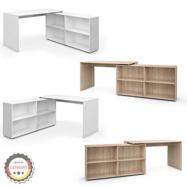 Eckschreibtisch Computertisch Schreibtisch Winkelschreibtisch Weiss/Sonoma Eiche/Buche