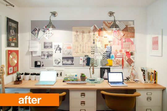 Love the idea of cabinet and countertop as office desk!