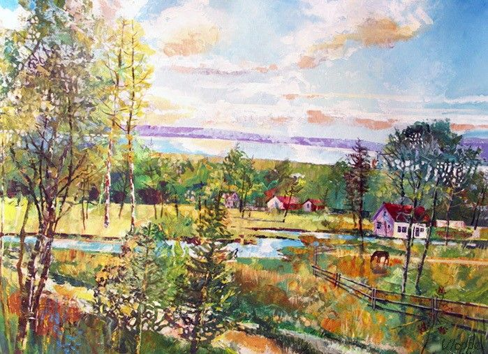 Village at Huron Lake - Art by Valentine Ioppe,  Канада.