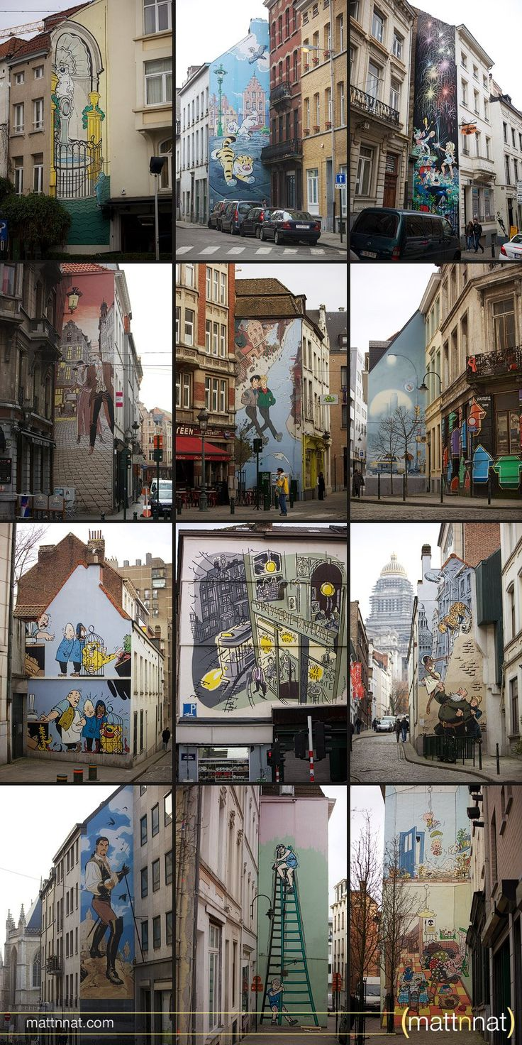 brussels comic walls, brussels, belgium, europe, comics