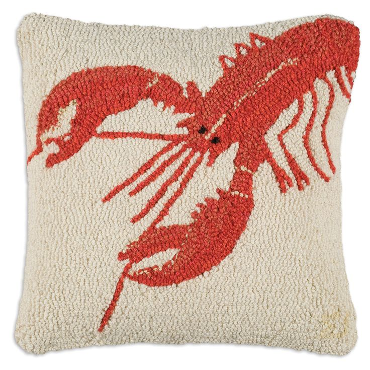 """18"""" Red Lobster, hand hooked wool pillow, Chandler 4 Corners, Manchester VT"""