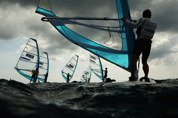 Cameron Spencer - Getty Images Competitors race in the Men's RS-One Windsurfing class during the 2014 Asian Beach Games at Karon Beach on November 16, 2014 in Phuket, Thailand. (Photo by Cameron Spencer/Getty Images)