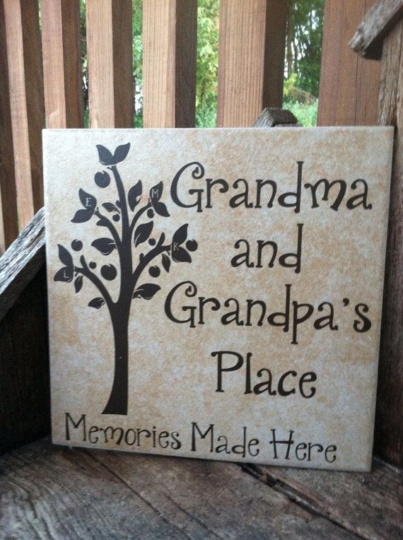 "IDEA...""Grandmommy and Grandaddy's Place Memories Made Here"" on a round red charger with gold lettering?"