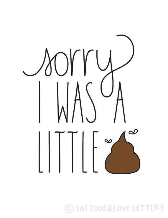 Funny I'm Sorry Card. Sorry I Was A Little by tattoosloveletters