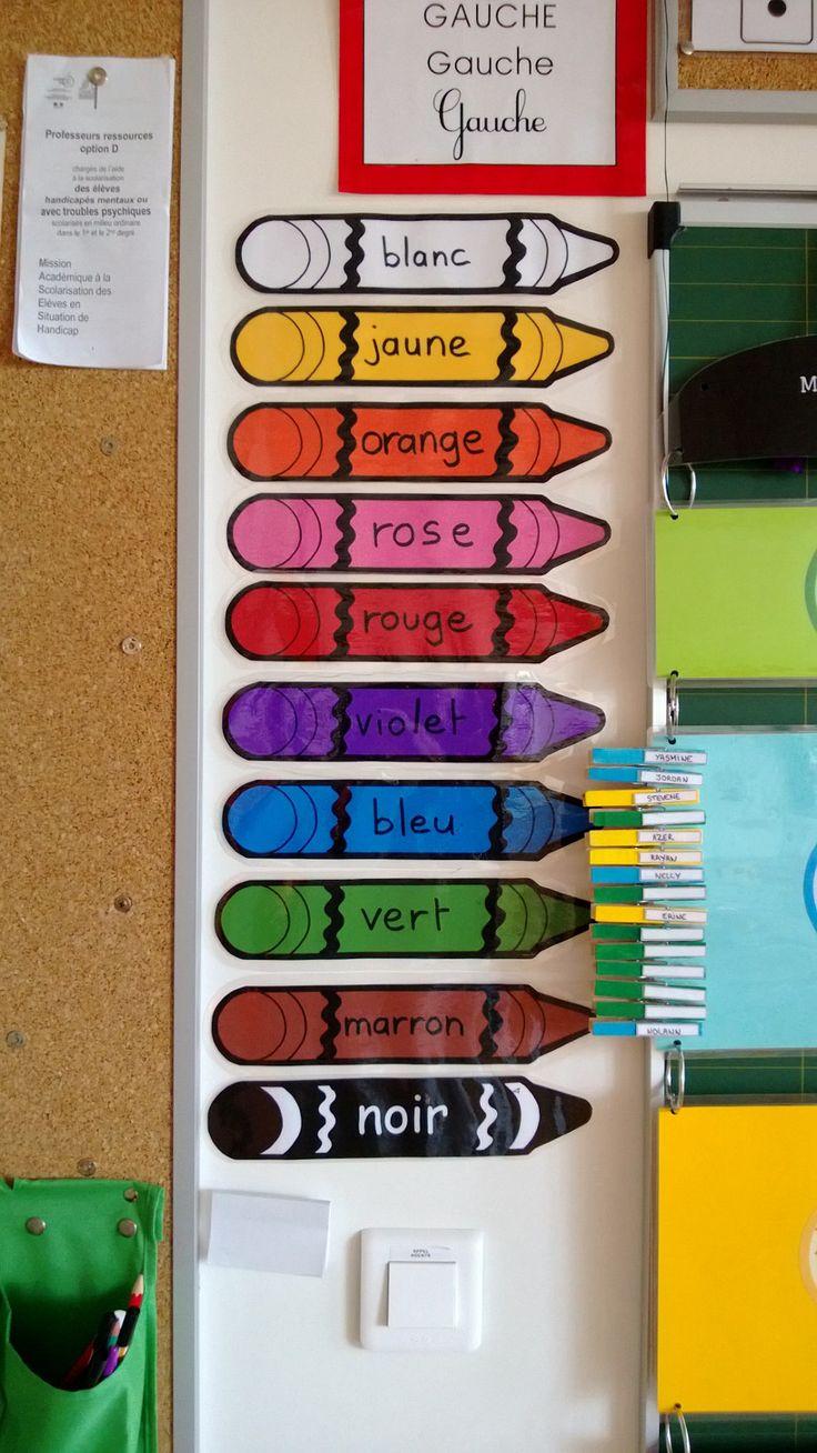 Mon affichage pour les couleurs.