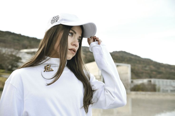 white anti social social club cap and watashi top