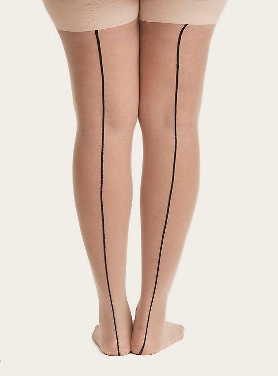 419eab2f3 Plus Size Nude Cuban Heel Back Seam Tights