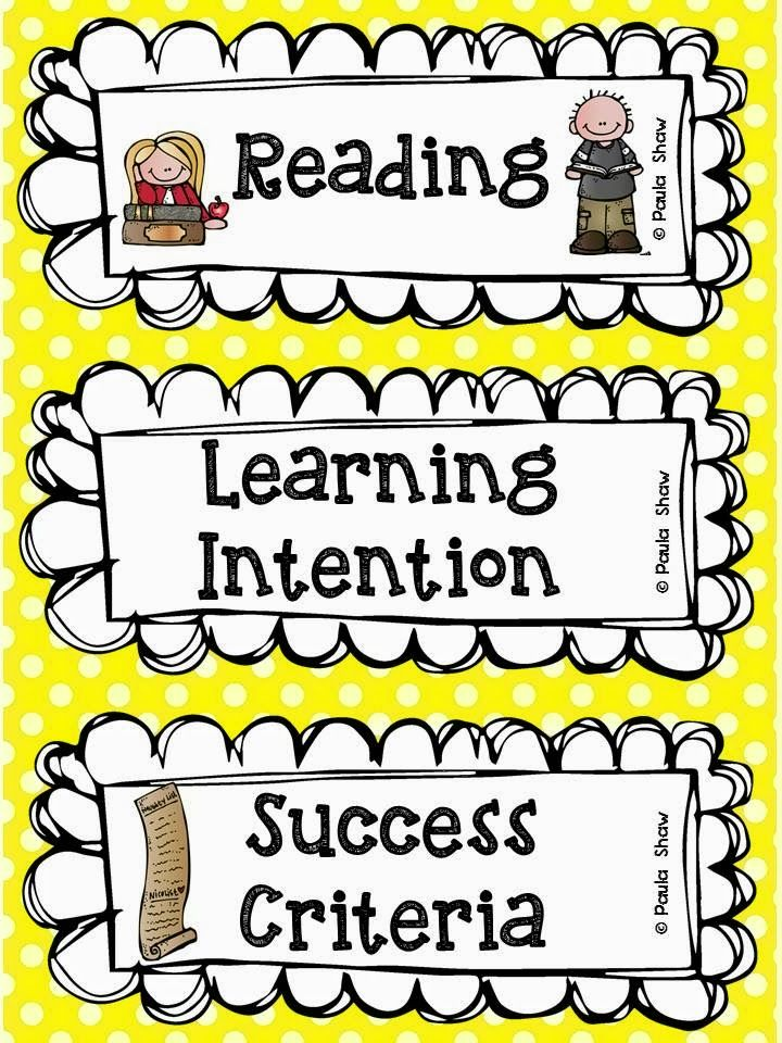Paula's Place: Learning Intention Freebie