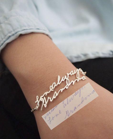 VENTE FLASH 40 % de RÉDUCTION Memorial Signature • personnalisé écriture Bracelet • souvenir bijoux Bracelet en cadeau argent Sterling • mère
