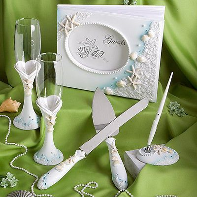Summer Destination Wedding Flutes, Guest Book, Pen, & Serving Cake Set Make the memories last with our Finishing Touches Collection of beach themed wedding day accessories. Looking to make the most of