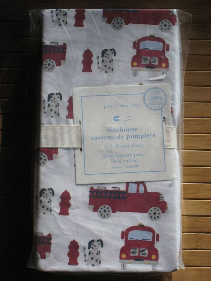 POTTERY BARN BABY FIREHOUSE FIRE TRUCKS FITTED CRIB SHEET NIP