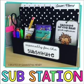 Featured on TeachersPayTeachers and TargetTeachers! This Sub Station is the easiest way to organize for a Substitute! Teachers know how difficult it can be to miss a school day (or worse, plan for extended leave). This Sub Station will help you get the most important info together and displayed in a simple station! Perfect for teachers who are required to have their Substitute plans visible!