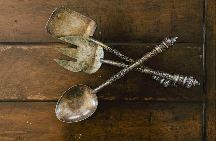 Rustic serving utensils.