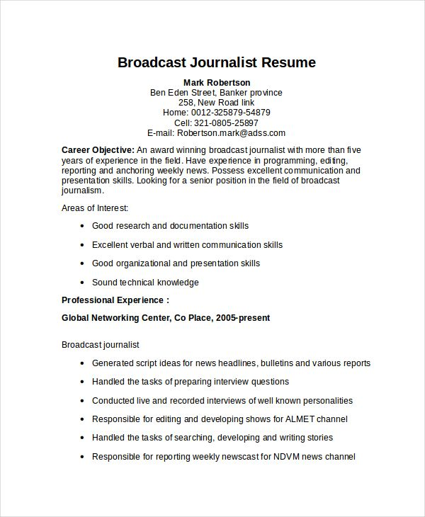 Resume Templates Journalism Journalism Resume Resumetemplates
