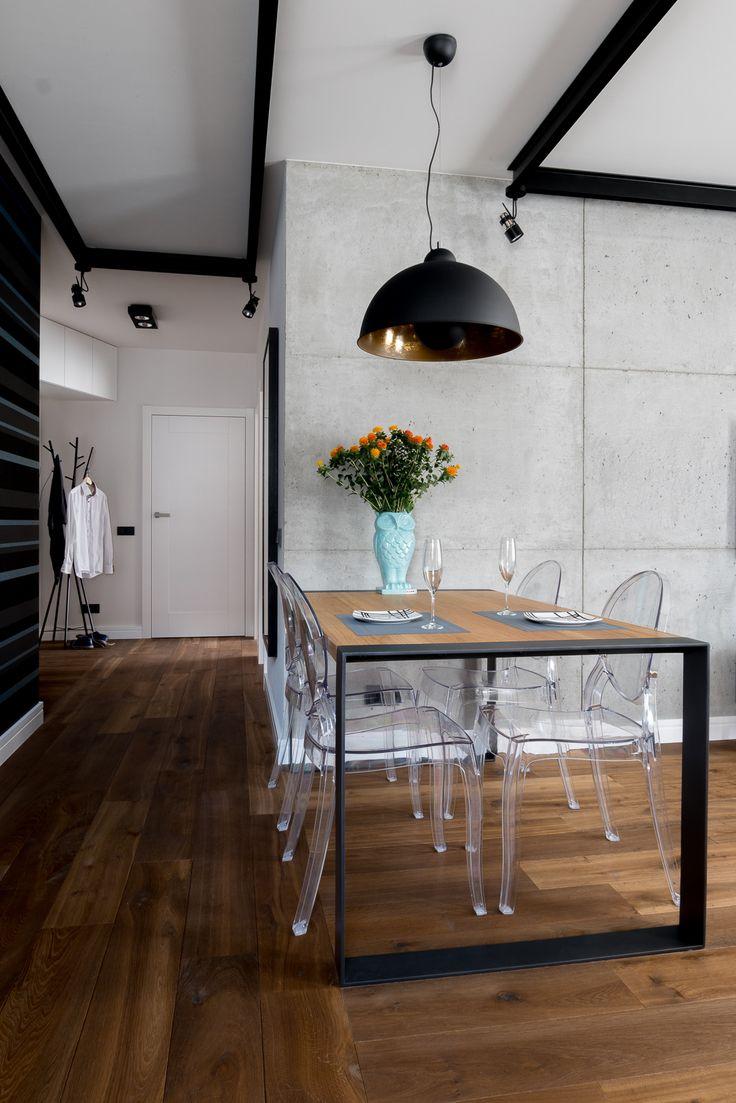 Mieszkanie na Bemowie - jadalnia - tryc.pl #dining #living #steel #table #cocnrete
