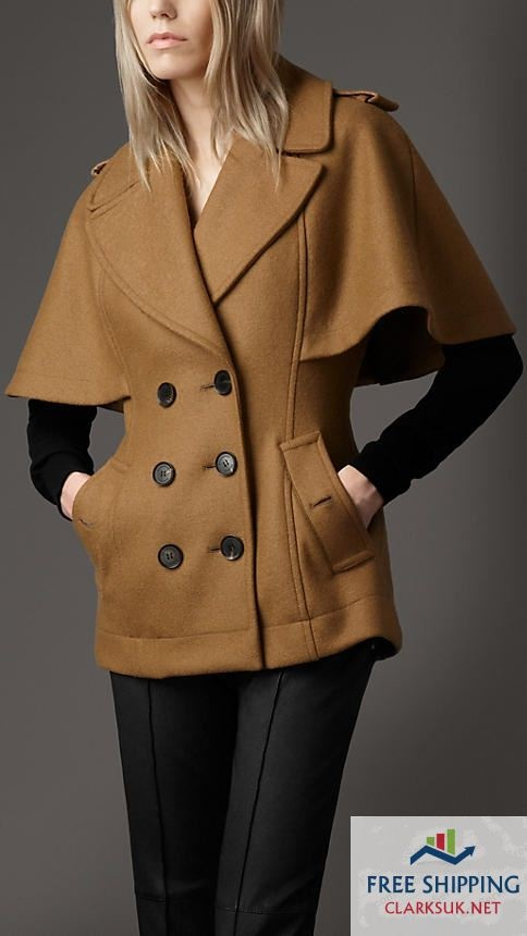 BURBERRY WOMENS COAT London Boiled Wool Cape Jacket Brown