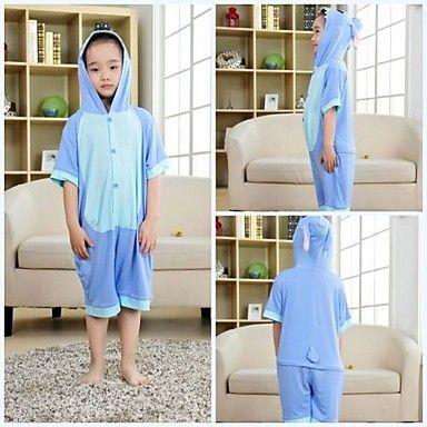 Kids Blue Stitch Modal Kigurumi Pajamas For Summer