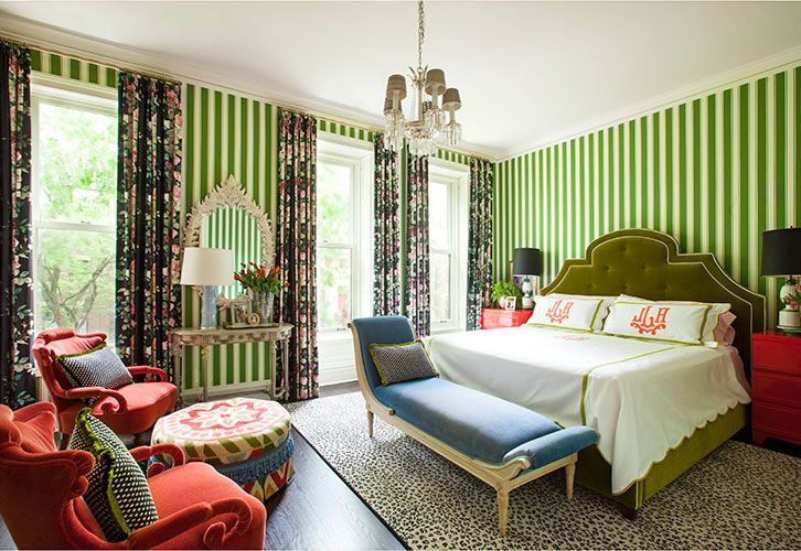 Bright red green with leopard rug stripes blackfloral for Bright green interiors