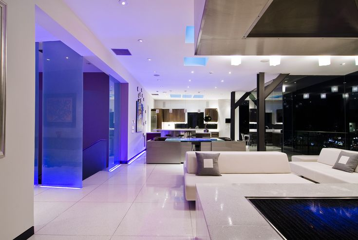 Modern Home uses stunning blue LED Strip Lights to inject colour into bright and stylish open space.   http://www.led-light-strip.co.uk/shop/single-colour-led-lights/blue-led-tape-83.html