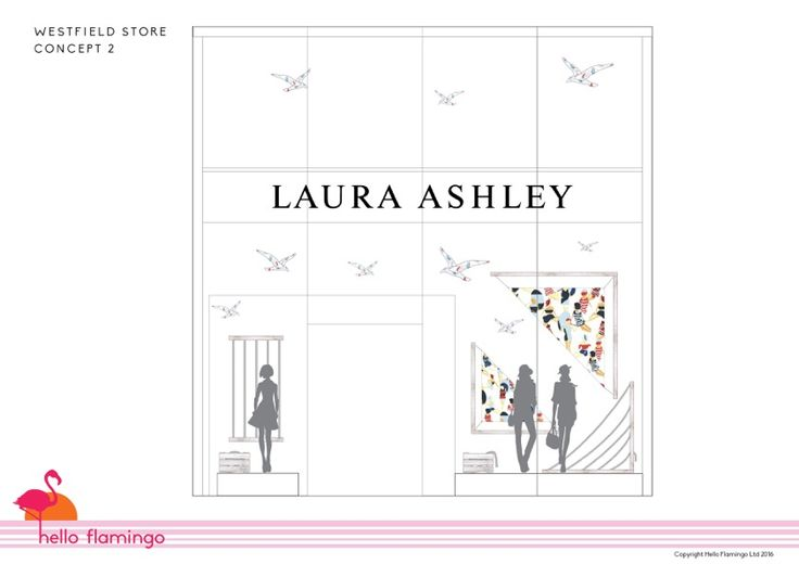 Hello Flamingo window display for #Lauraashley #retail #retaildesign #visualmerchandising #design #window displays