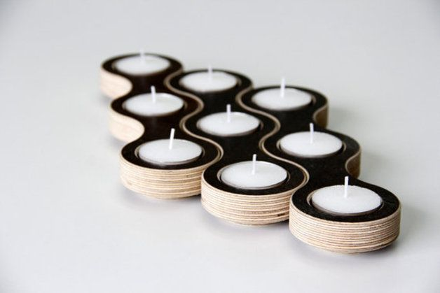 autumn in DaWanda Candle Holders – Modular Wooden Candleholder brown – a unique product by Tessa-Leon on DaWanda