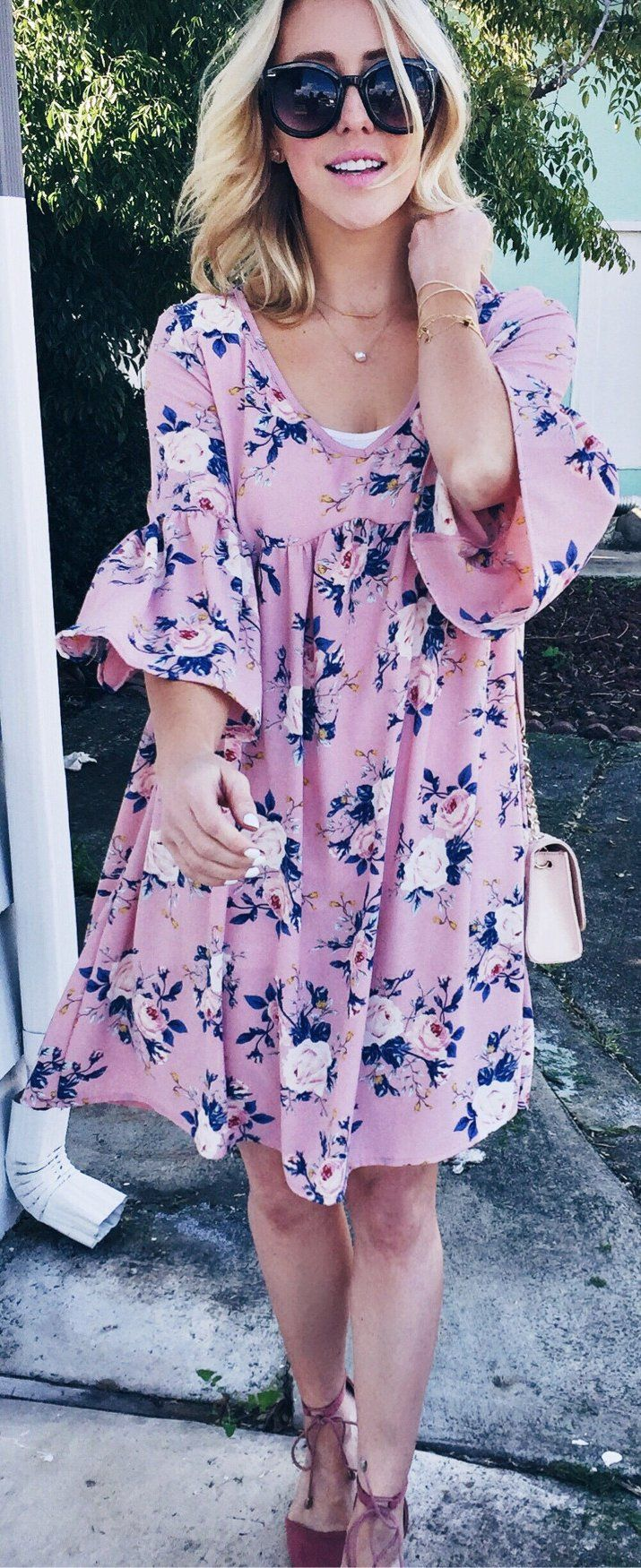 #cute #outfits  Pink Printed Dress / Brown Laced Up Pumps