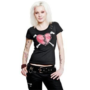 On front of this black T shirt is printed a large red heart that has been split in two and mended with stitching. Down the back of the Broken Heart Top are two rows of grommets attached with safety pins which could easily be replaced by ribbon lacing.    Made from 65 percent cotton, 35 polyester    Ref : GGSH1128509   Price : 21.99 GBP
