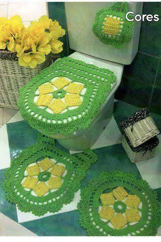 Jogo de banheiro | croche | barbante | verde | com flores