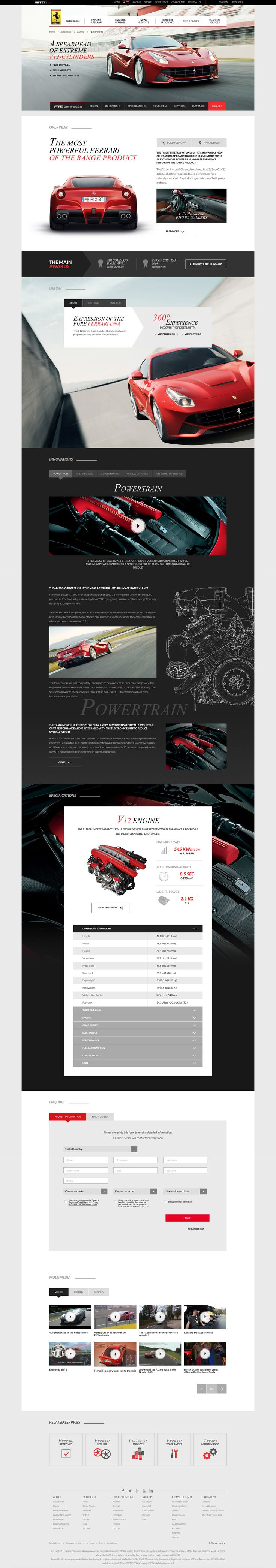 Ferrari page design template for their automobiles.