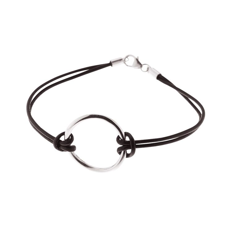 Sterling silver circle pendant for bracelet or necklace from By Malene Meden at Svane & Lührs - here with black leather straps. We tailkor-make your length. Worldwide shipping € 5: www.svane-luhrs.com.