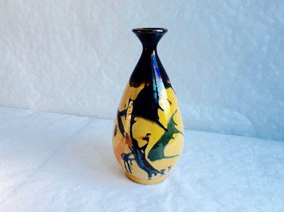 Ancien vase ovoïde a col évasé signé par RetroVase sur Etsy