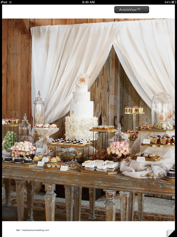 Dessert table- with stands to add height. Also love the glass vases covering items
