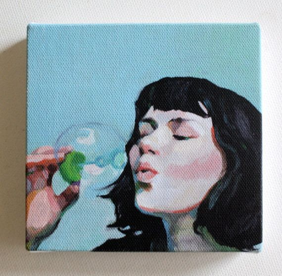 Jenny / Tiny canvas print   -Portrait print painting -Print of Original acrylic painting -CANVAS ART PRIN-  wall hanging by tushtush on Etsy https://www.etsy.com/listing/73672787/jenny-tiny-canvas-print-portrait-print