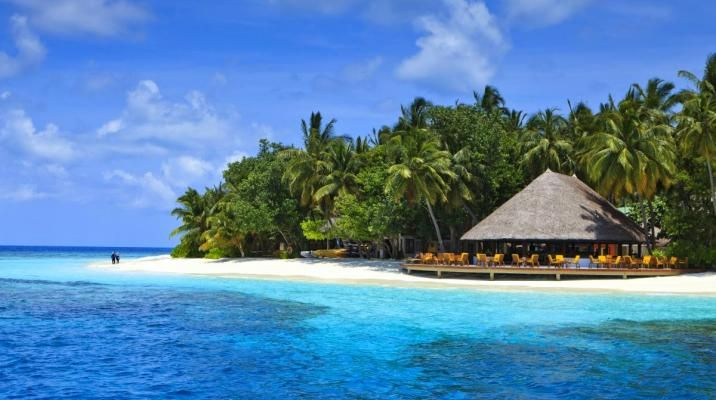 Bar og strand på Angsana Ihuru, Maldiverne