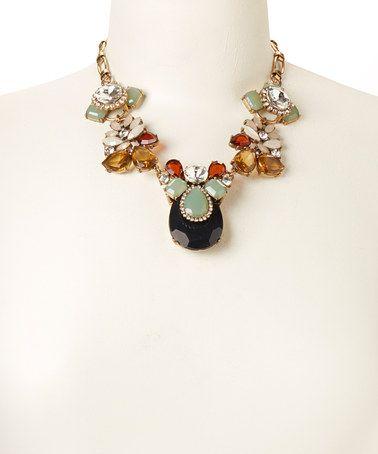 Look at this #zulilyfind! Gold & Black Bold Flower Crystal Statement Necklace by Sorta Southern Boutique #zulilyfinds