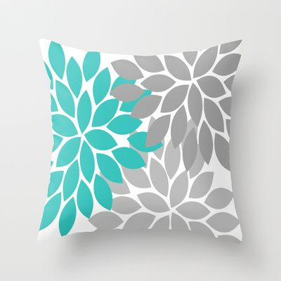 Bold Colorful Turquoise Gray Dahlia Flower Burst Petals Throw Pillow by TRM Design - $20.00