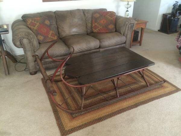 Antique 1860u0027s Horse Drawn Sleigh/ Coffee Table