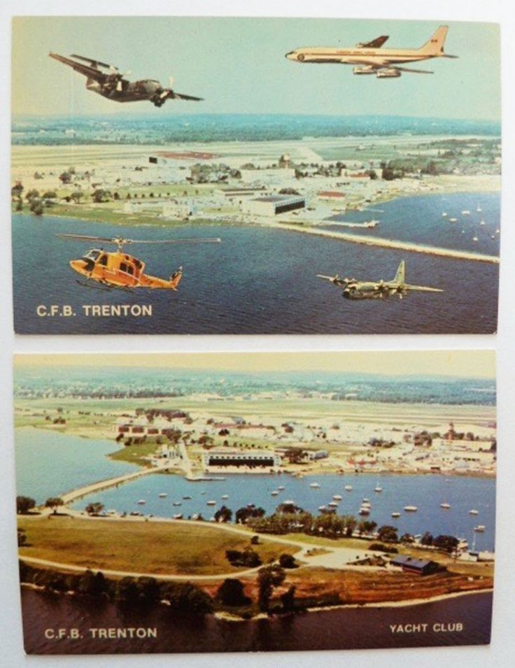 C.F.B. Trenton 2 Postcard Canadian Forces Base RCAF Planes Helicopter Ontario