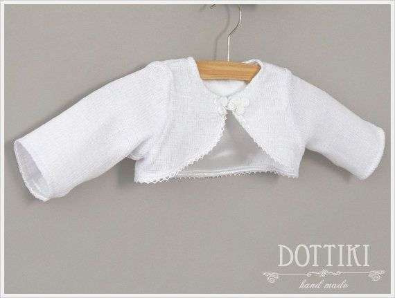 White Christening Bolero with Lining   Linen Baptism by DOTTIKI